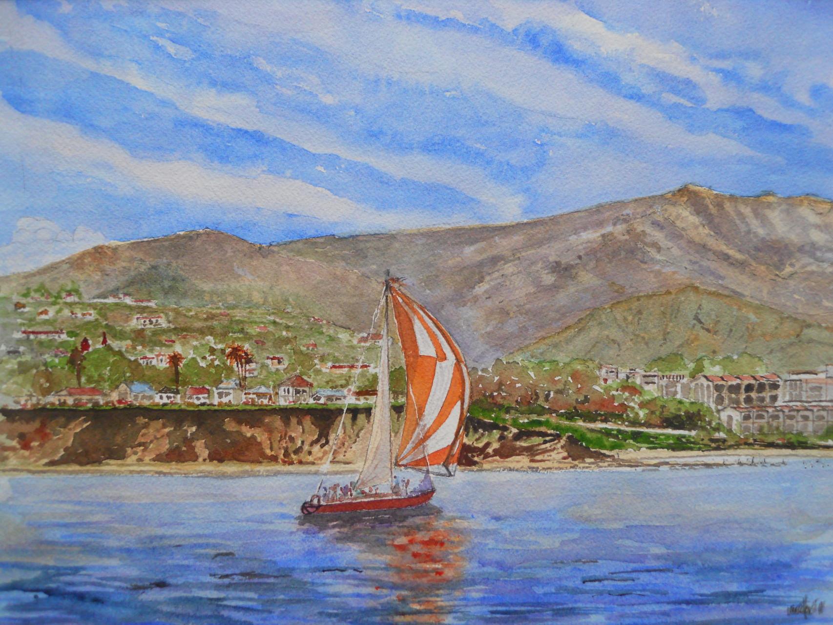 Sailing off Ledbetter Beach