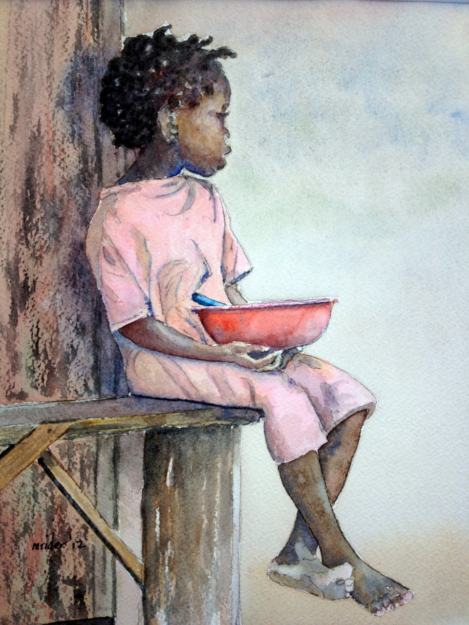 Haiti Girl Waiting for Food