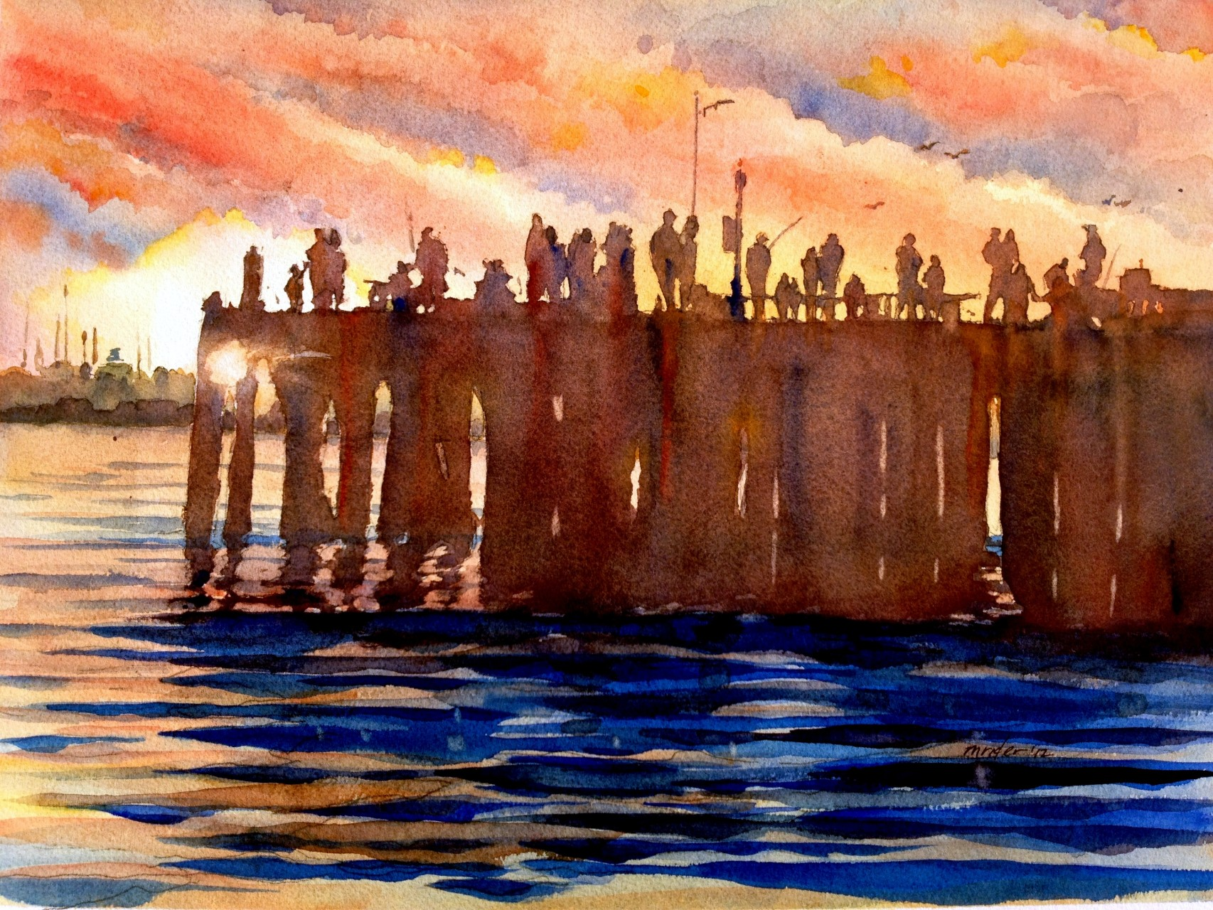 Sunset Over the Santa Barbara Wharf 2