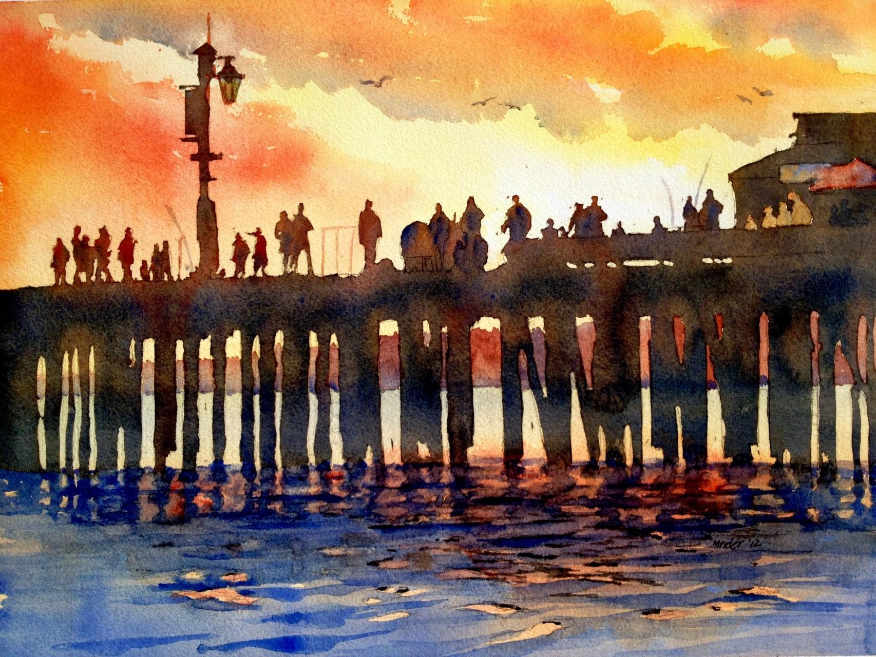 Sunset Over the Santa Barbara Wharf